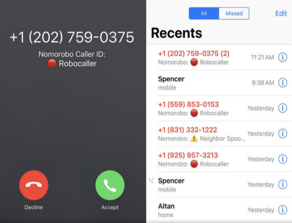 Nomorobo app call blocker robocalls and spoofed numbers app for privacy and security example images showing blocked calls