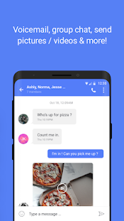 Text now App screen showing group chat, sending pictures and videos
