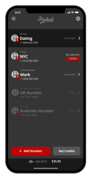 Screen of the Hushed App Main Number Dashboard